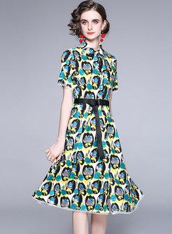 Short Sleeve Lace Print Big Hem Shirt Dress