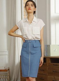 Brief Blue High Waisted Denim Sheath Skirt
