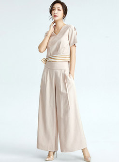 Casual V-neck Striped Ribbon Wide Leg Pant Suits