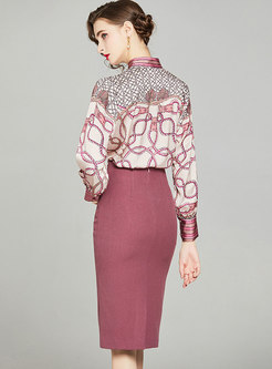 Mock Neck Print High Waisted Bodycon Skirt Suits