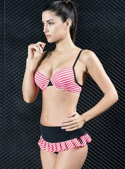 Sexy Striped Patchwork Pleated Bikini