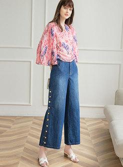 V-neck Pleated Print Chiffon Blouse & Wide Leg Jeans