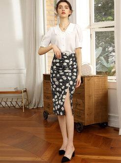 Black High Waisted Print Chiffon Bodycon Skirt
