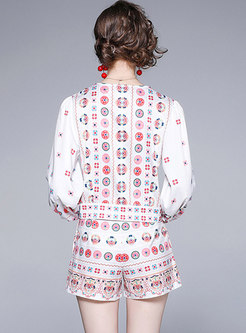 White V-neck Print High Waisted Hot Pant Suits