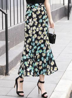 High Waisted Print Chiffon Peplum Maxi Skirt