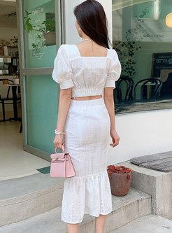 White Square Neck Openwork Peplum Skirt Suits