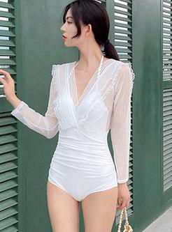 V-neck Halter Backless Long Sleeve One Piece Swimwear