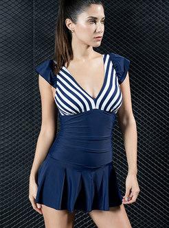 Deep V-neck Striped Patchwork One Piece Swimwear