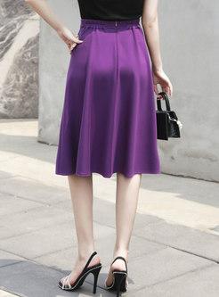 High Waisted A Line Big Hem Skirt