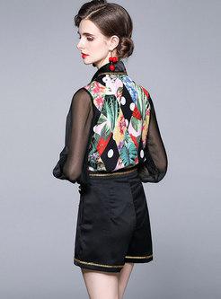 Black Long Sleeve Print Blouse & High Waisted Shorts