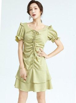Square Neck Drawstring Ruched Ruffle Mini Dress