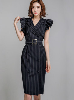 Work Notched Collar Striped Belted Dress