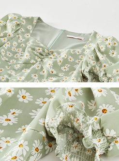 Square Neck Puff Sleeve Floral Split Midi Dress