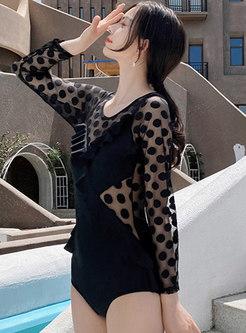 Polka Dot Transparent Ruffle One Piece Swimwear