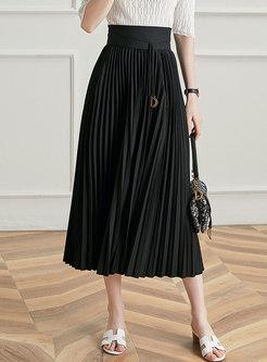 Black High Waisted Pleated Maxi Skirt