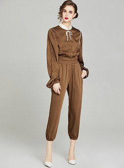 Casual Mock Neck Crop Blouse & High Waisted Pants