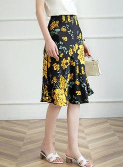 High Waisted Print Knee-length A Line Skirt
