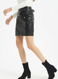Black High Waisted Mini PU Skirt