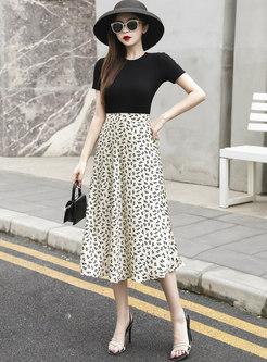 High Waisted Satin Floral A Line Skirt