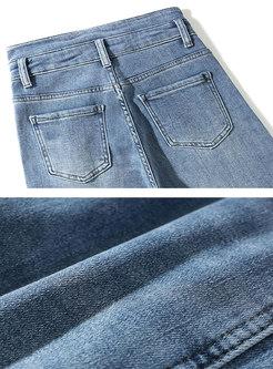 Retro Blue High Waisted Split Straight Jeans