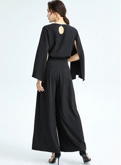 Casual Split Sleeve High Waisted Wide Leg Pant Suits