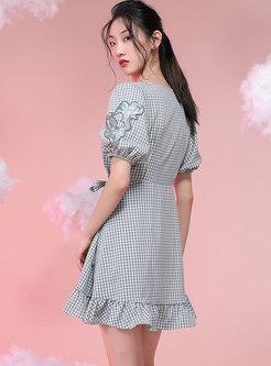 V-neck Puff Sleeve Embroidered Plaid Skater Dress