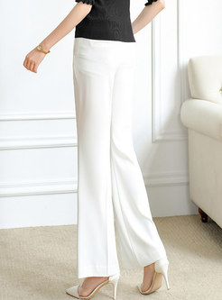 Solid Casual High Waisted Flare Pants