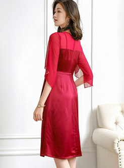 Mesh Patchwork Bowknot Tied A Line Dress