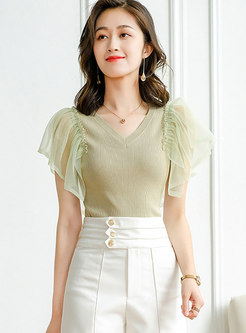 V-neck Ruffle Mesh Patchwork Knit Top