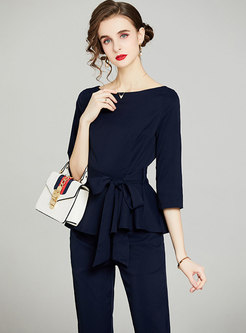 Casual 3/4 Sleeve Ruffle High Waisted Pant Suits