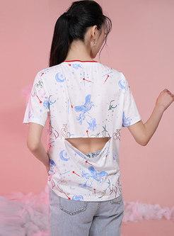White Crew Neck Print Pullover Openwork T-shirt