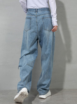 Blue High Waisted Wide Leg Ripped Jeans