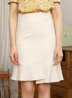 High Waisted Asymmetric Mini Peplum Skirt