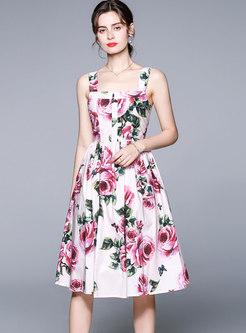 Square Neck Print A Line Knee-length Dress