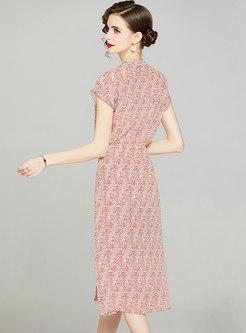 V-neck Sleeveless Floral A Line Midi Dress