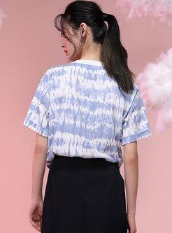 Crew Neck Tie-dye Pullover Short Sleeve T-shirt