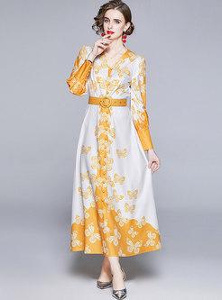 V-neck Long Sleeve Belted Print Maxi Dress