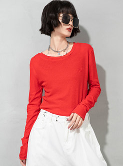Casual Letter Pullover Long Sleeve T-shirt