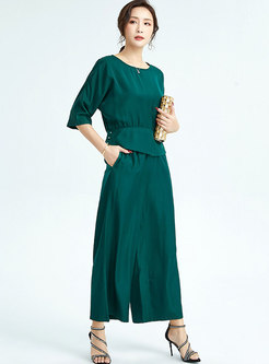 Casual Half Sleeve Pullover Wide Leg Pants Suits