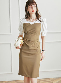 Square Neck Puff Sleeve Smocked Bodycon Dress