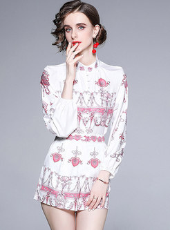 White Mock Neck Print High Waisted Shorts Suits