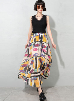 High Waisted Cartoon Print Chiffon Pleated Maxi Dress