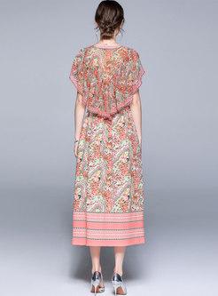Floral V-neck Ruffle Sleeve Chiffon Maxi Dress
