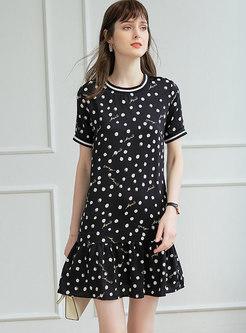 Polka Dot Letter Print Ruffle T-shirt Dress