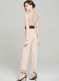 Lace Openwork Patchwork High Waisted Jumpsuis