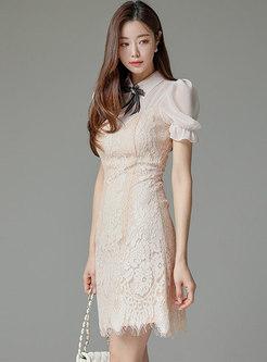 Bowknot Puff Sleeve A Line Lace Mini Dress