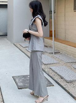 Grey V-neck Raglan Sleeve Belted Straight Pant Suits