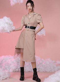 High Waisted Mesh Patchwork Asymmetric Skirt