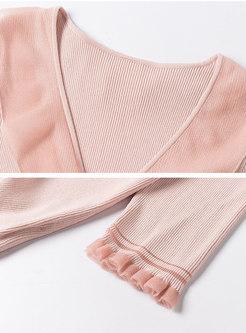 Half Sleeve Ruffle Drawstring Knit Top