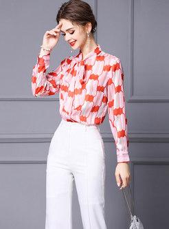 Bowknot Ribbon Print Blouse & High Waisted Flare Pants